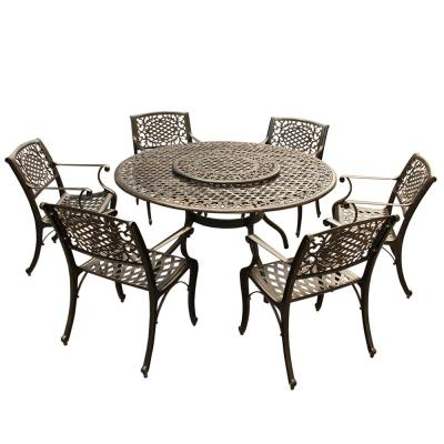 Ornate Traditional 7-Piece Bronze Aluminum Round Outdoor Dining Set with Lazy Susan and 6-Chairs