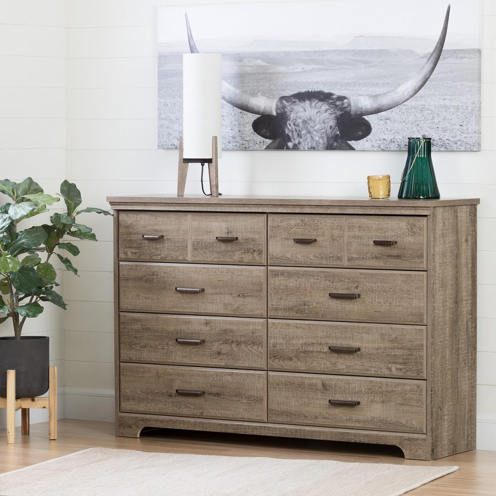 South S Versa 8 Drawer Weathered Oak Dresser
