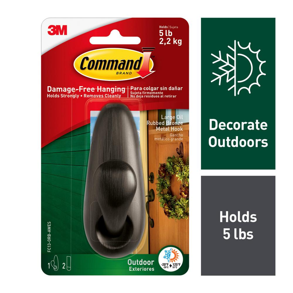 Command Outdoor Forever Classic 4 125 in Large Oil Rubbed Bronze Metal Hook  with Foam Strips