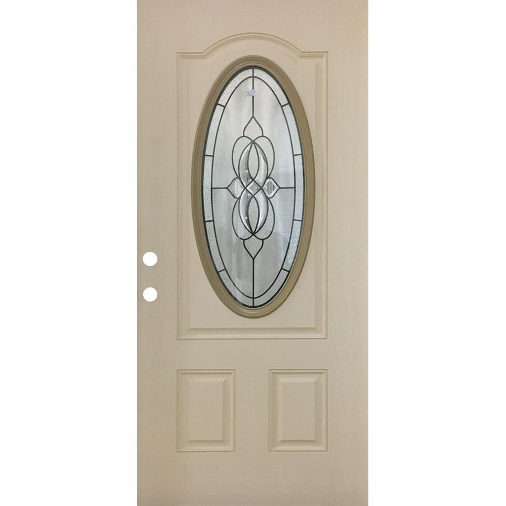 Steves & Sons 36 in. x 80-3/4 in. Classic Lynx Decorative 3/4 Oval RH Inswing Primed White Oak Textured Fiberglass Front Door Slab