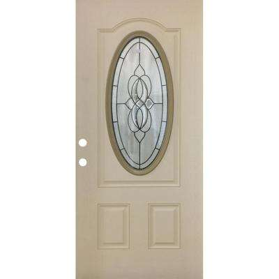 36 in. x 80-3/4 in. Classic Lynx Decorative 3/4 Oval RH Inswing Primed White Oak Textured Fiberglass Front Door Slab