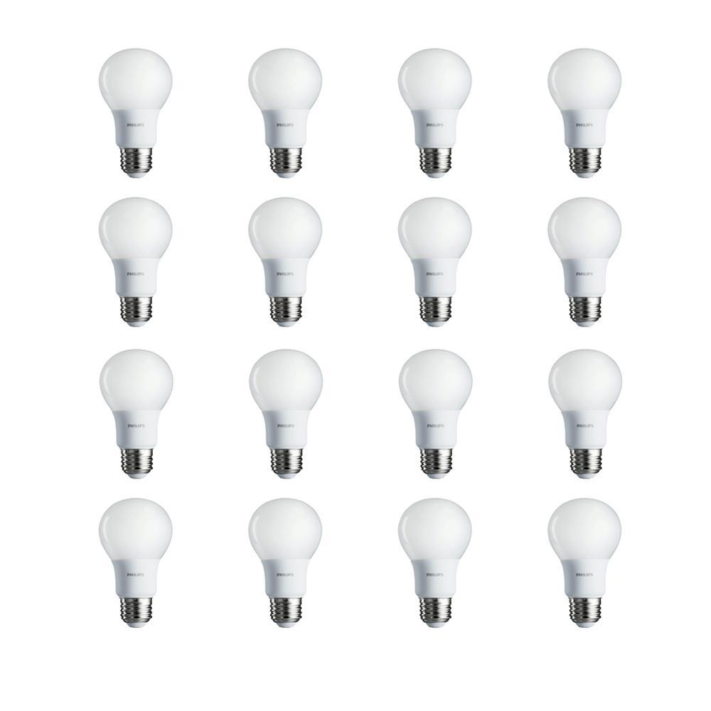 60-Watt Equivalent A19 Non-Dimmable Energy Saving LED Light Bulb Soft White (2700K) (16-Pack)