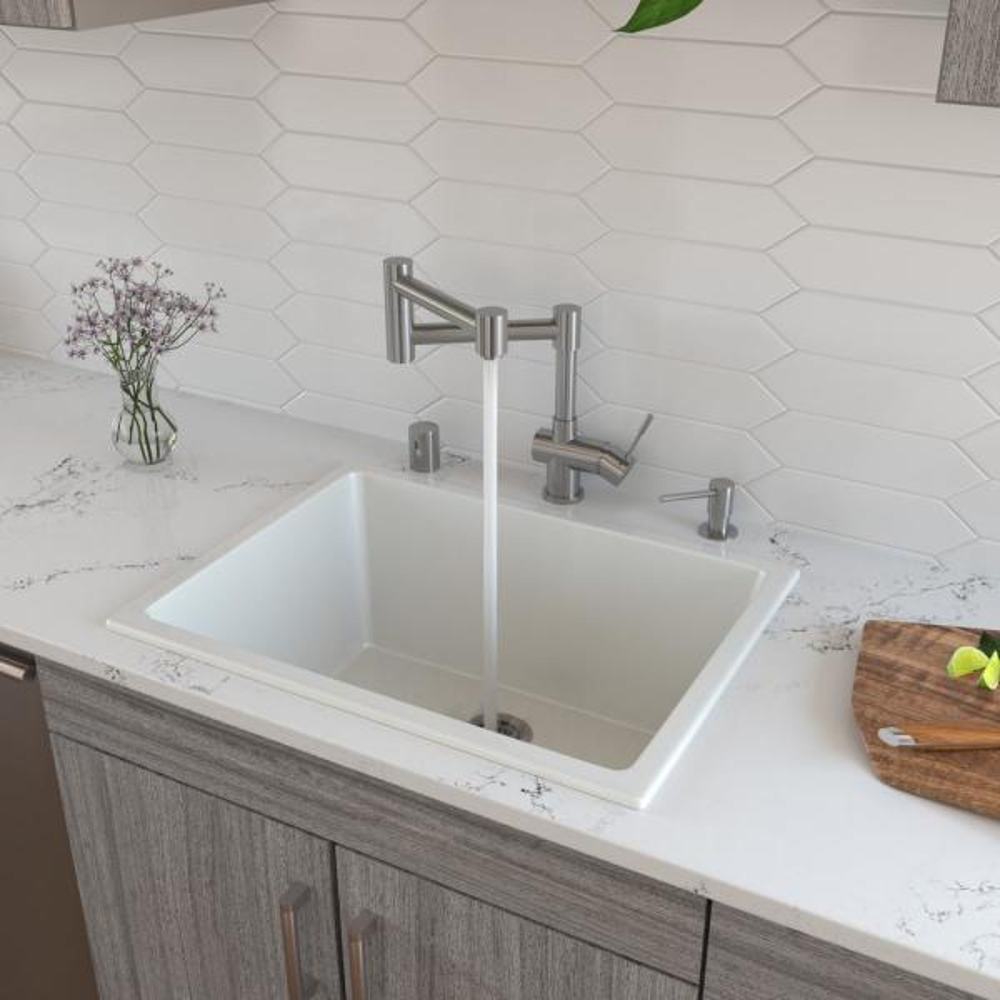 Fireclay 24 in. Single Bowl Undermount Kitchen Sink in White