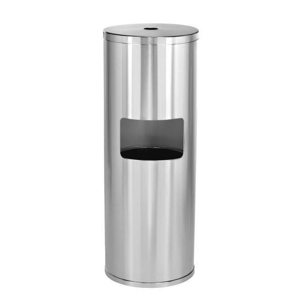 Stainless Steel Gym Disinfecting Wipes Dispenser with 7 Gal. Built-in Trash Can