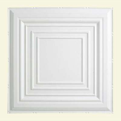 Traditional Style # 3 - 2 ft. x 2 ft. Vinyl Lay-In Ceiling Tile in Matte White