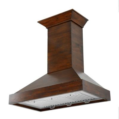 ZLINE 30 in. Wooden Wall Mount Range Hood in Walnut - Includes  Remote Motor