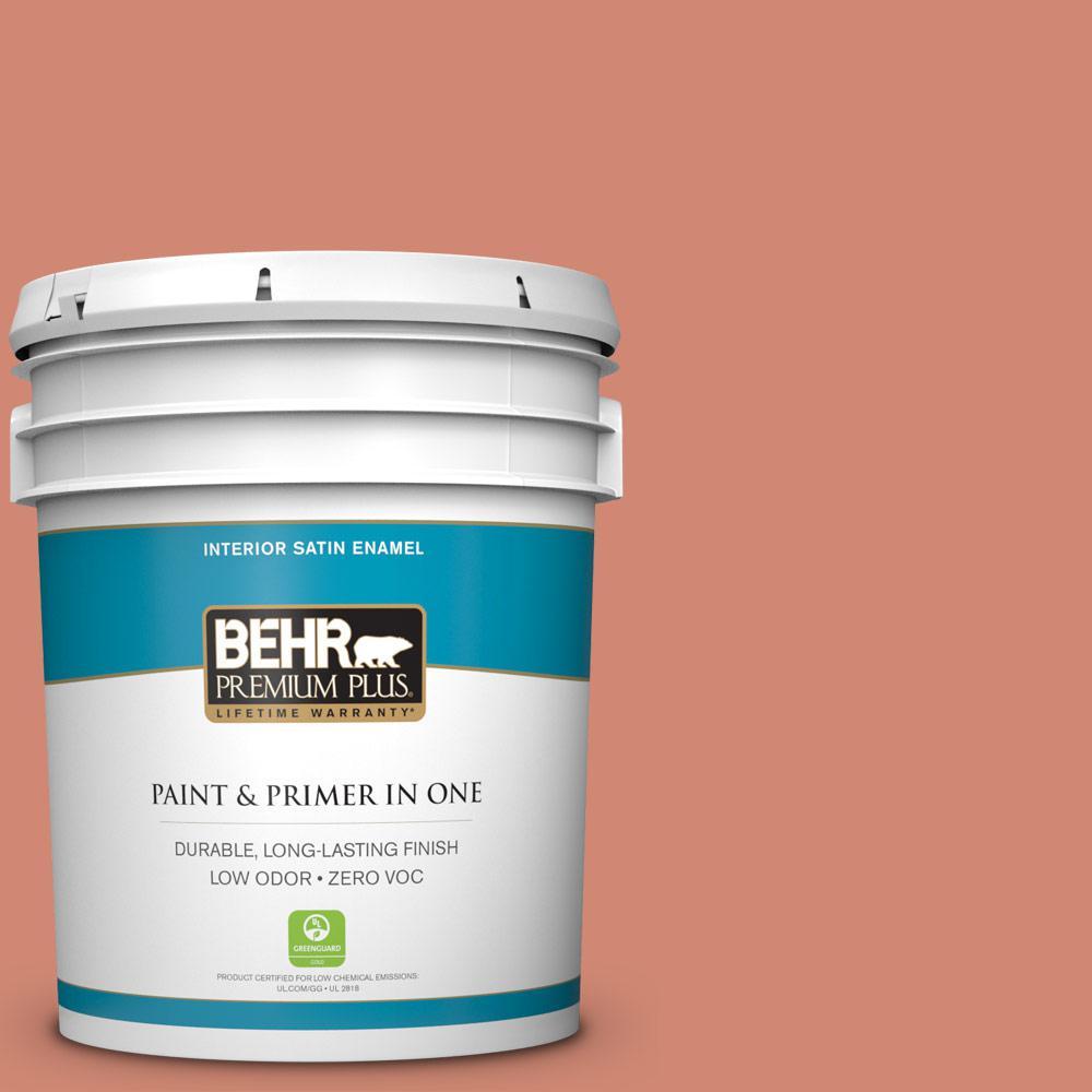 BEHR Premium Plus 5-gal. #210D-5 Copperleaf Zero VOC Satin Enamel Interior Paint