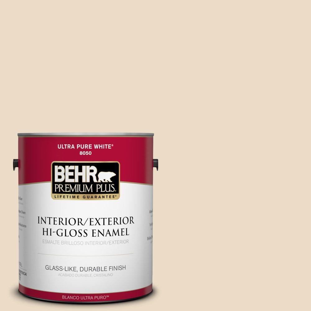 BEHR Premium Plus 1-gal. #N290-2 Authentic Tan Hi-Gloss Enamel Interior/Exterior Paint
