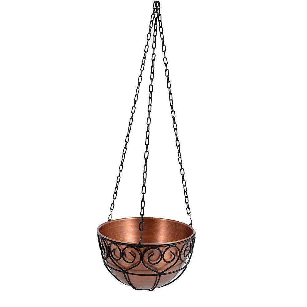 14 in. Antique Copper Round Hanging Planter