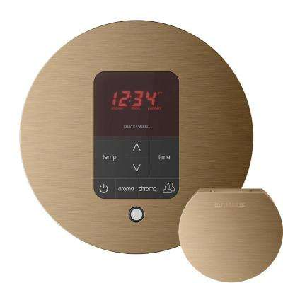 iTempo Plus Control with AromaSteam Steam Head Round for Steam Bath Generator in Brushed Bronze