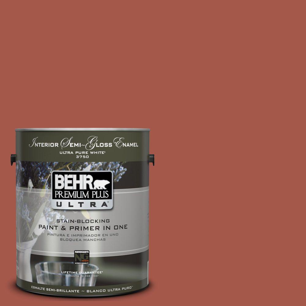 BEHR Premium Plus Ultra 1-gal. #UL120-20 Cajun Red Interior Semi-Gloss Enamel Paint