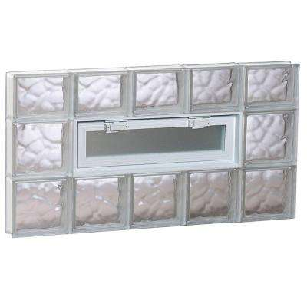 38.75 in. x 21.25 in. x 3.125 in. Wave Pattern Vented Glass Block Window
