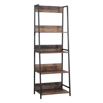 71 in. Planked Knotty Pine Wood 5-shelf Ladder Bookcase with Open Back