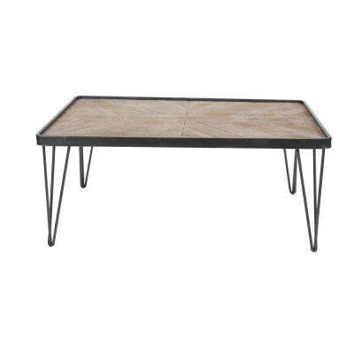 Brown and Black Chevron-Patterned Coffee Table
