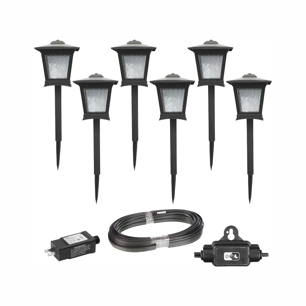 Hampton Bay Low Voltage Black Outdoor Integrated Led Landscape Path Light 6 Pack Kit Hd33678bk The Home Depot