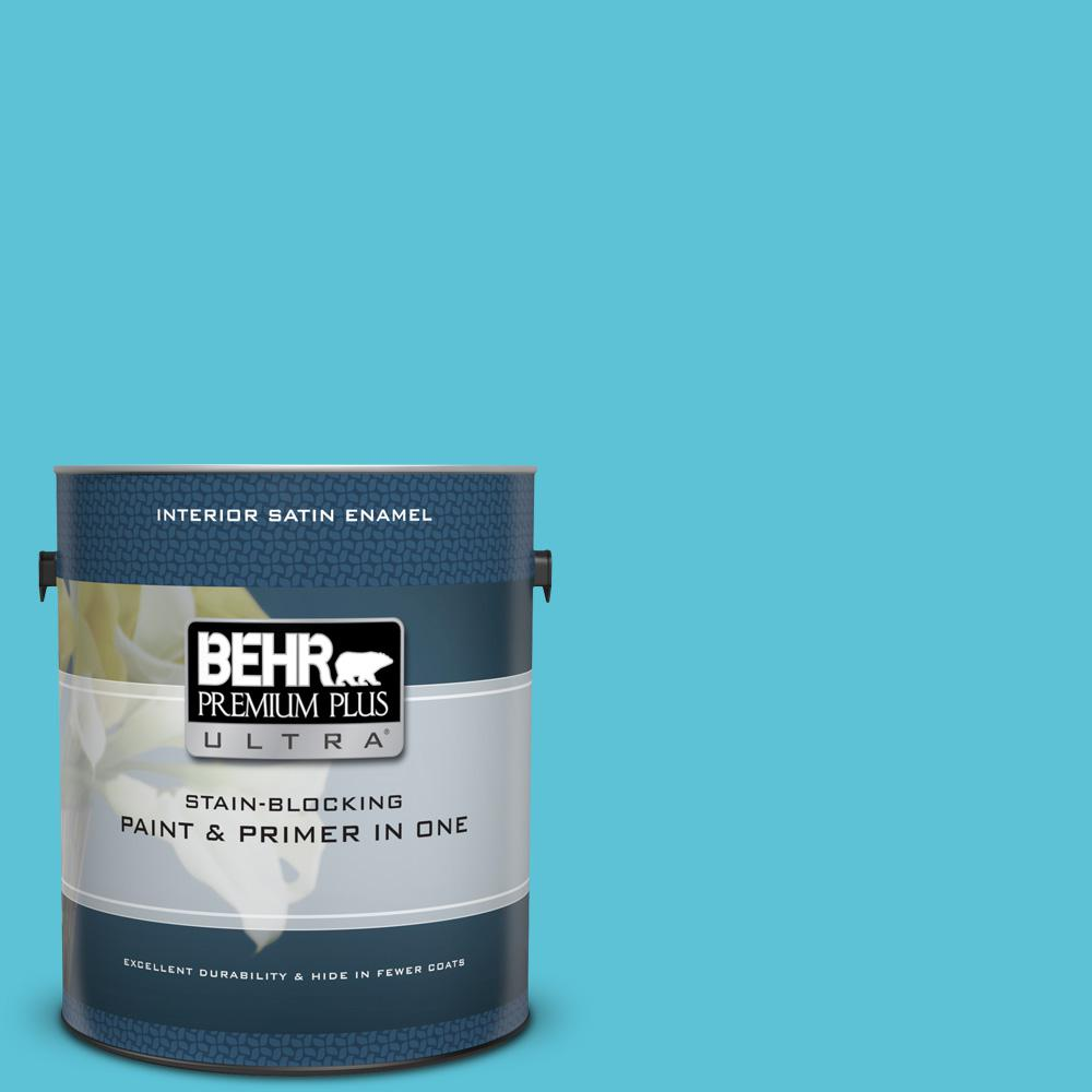 Behr Premium Plus Ultra 1 Gal P480 4 Rushing Stream Satin Enamel Interior Paint And Primer In One 775401 The Home Depot