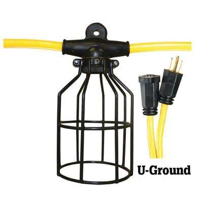 50 ft. 12/3 STW 5-Light Metal Cage Light String - Yellow and Black