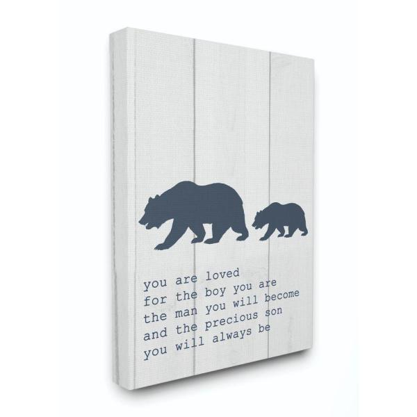 30 in. x 40 in. ''Kids Inspirational Word Boys Bear Family'' by Daphne Polselli Canvas Wall Art