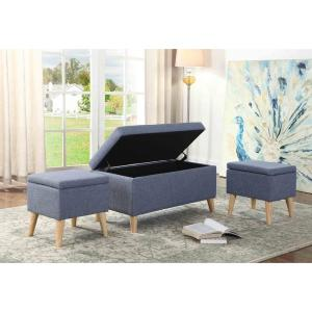18 inch Aquamarine Blue Storage Bench Storage Seating by