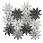 Mosaic 12 in. x 12 in. White Gray Marble Glass Peel and Stick Decorative Bathroom Wall Tile Backsplash (13 sq.ft./box)