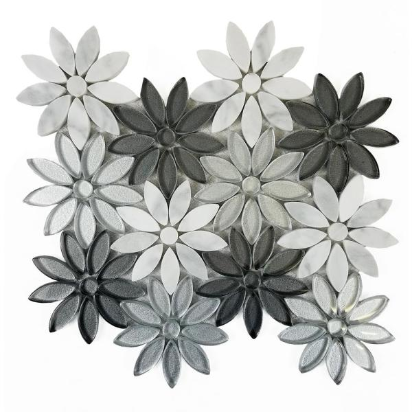 ABOLOS Mosaic 12 in. x 12 in. White Gray Marble Glass