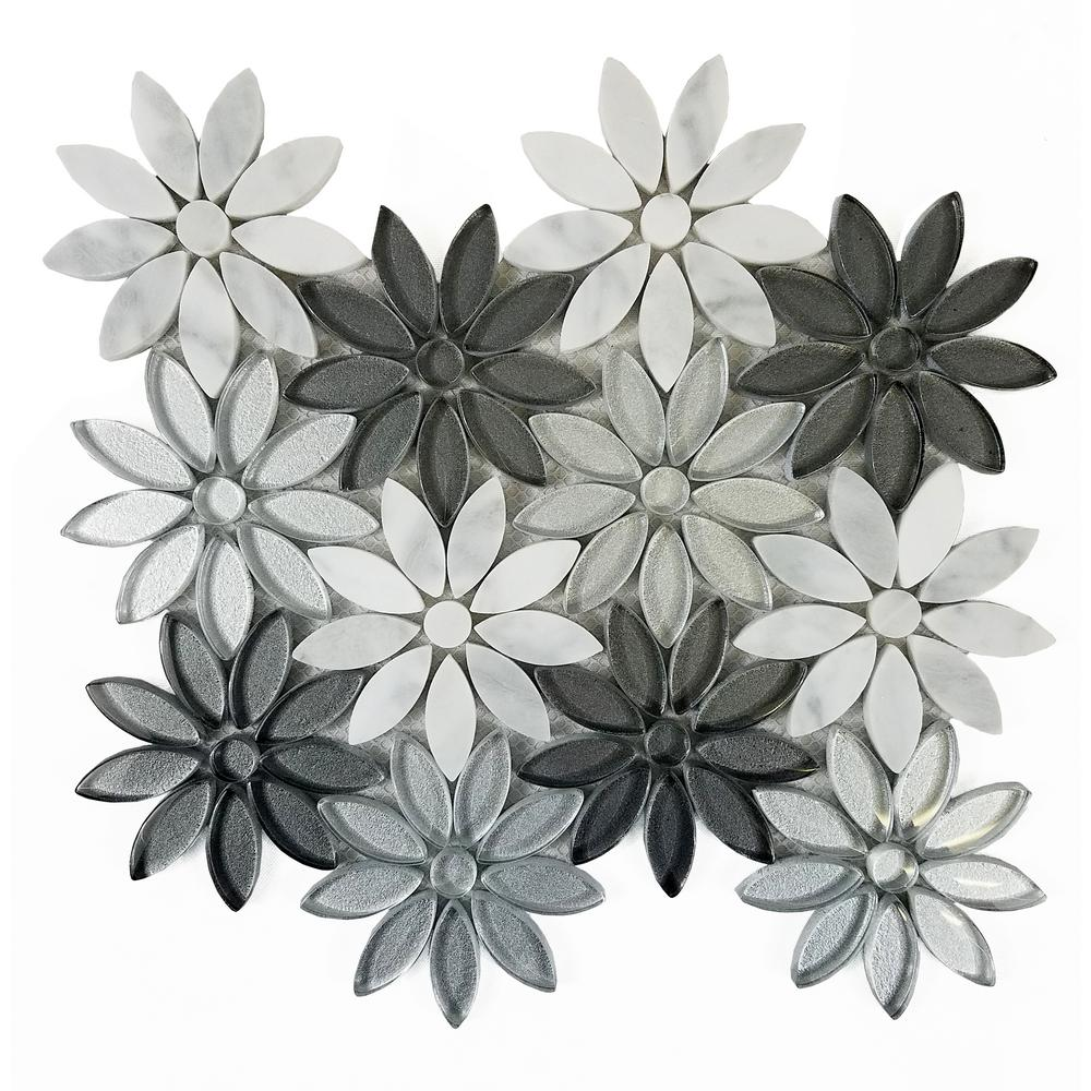 Mosaic 12 in. x 12 in. White Gray Marble Glass Peel