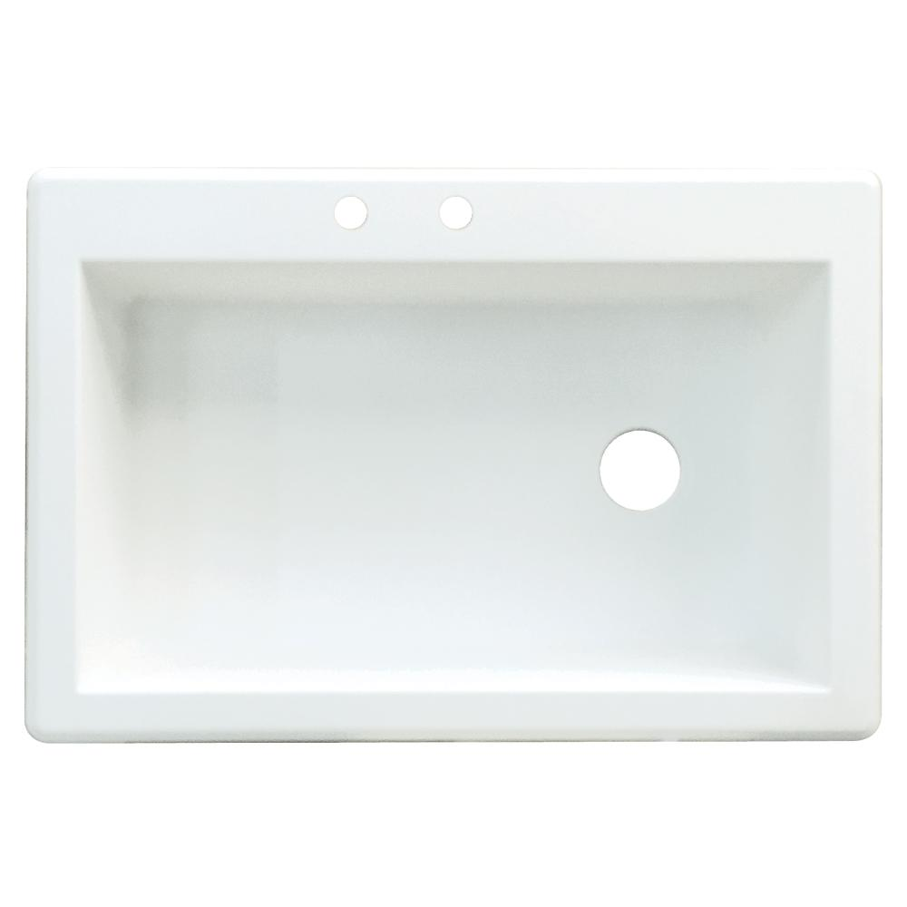 White Single Bowl Drop In Kitchen Sink Part - 25: Transolid Radius Drop-in Granite 33 In. 2-Hole Single Bowl Kitchen Sink In  White-RTSS3322-01-CB - The Home Depot