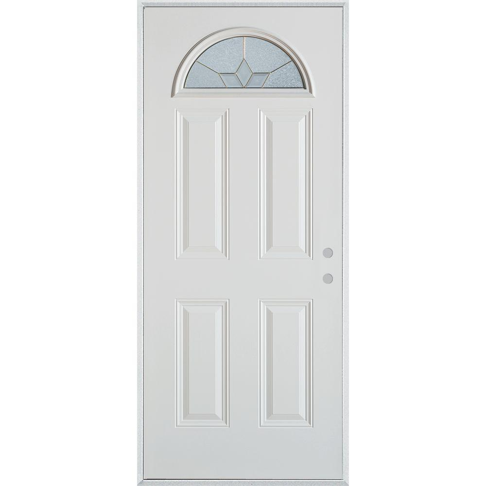 Stanley Doors 32 in. x 80 in. Geometric Brass Fan Lite 4-Panel Painted White Left-Hand Inswing Steel Prehung Front Door