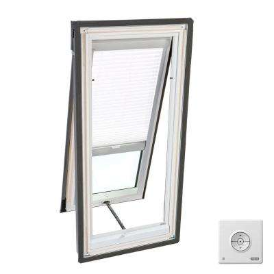 30-1/16 in. x 54-7/16 in. Venting Deck-Mount Skylight w/Laminated Low-E3 Glass White Solar Powered Light Filtering Blind