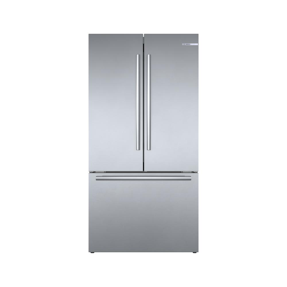 Bosch 800 Series 36 in. 21 cu. ft. French 3 Door Refrigerator in Stainless Steel with Dual Compressor, Counter-Depth