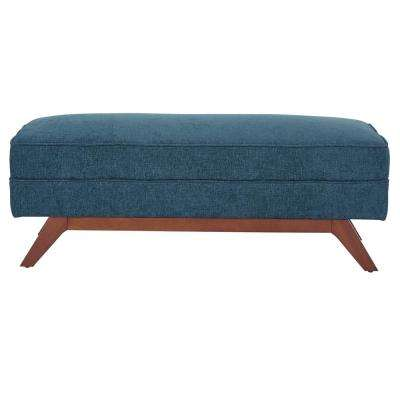 Beth Bench in Cush Sky Fabric with Ambered Legs