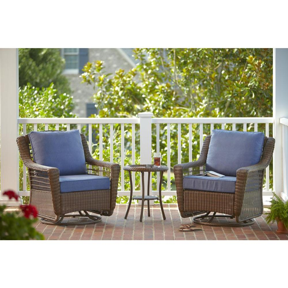 Hampton Bay Spring Haven Brown 3 Piece All Weather Outdoor Patio Chat Set With