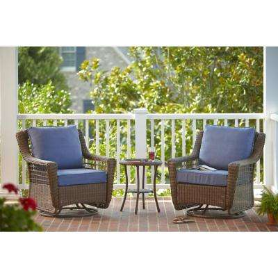 Spring Haven Brown 3-Piece All-Weather Outdoor Patio Chat Set with Sky Blue Cushions