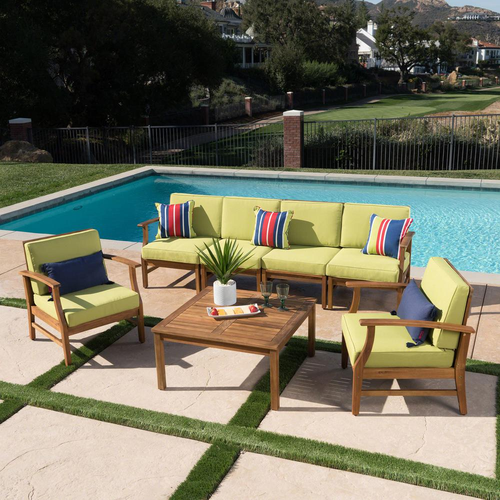 Noble House Giancarlo Teak Finish 7-Piece Wood Patio Sofa and Club Chair Conversation Set with Green Cushions