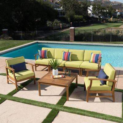 Giancarlo Teak Finish 7-Piece Wood Patio Sofa and Club Chair Conversation Set with Green Cushions