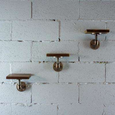 Brushed Brass Industrial Pipe 8 in. Wall Mounted Shelf with Reclaimed Aged Wood (3-Pack)