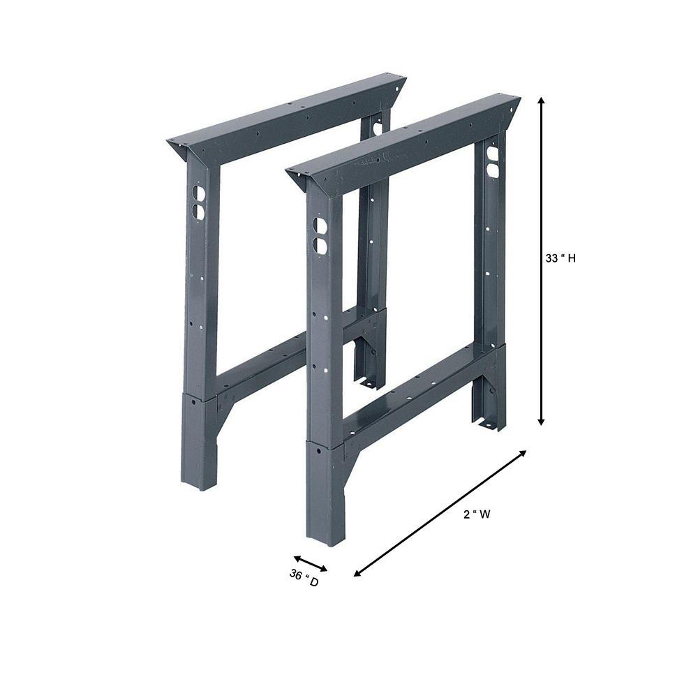 Vintage Industrial Steel Table Legs Work Bench Base Legs Pair 2 Adjustable