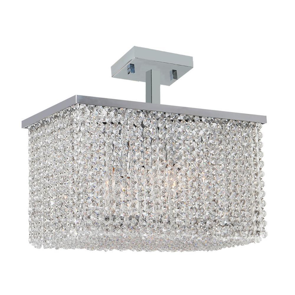 Worldwide Lighting Prism 5-Light Chrome Crystal Ceiling Light