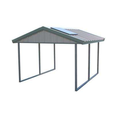 Premium Canopy 12 ft. x 20 ft. Light Stone and Patina Green All Steel Carport Structure with Durable Galvanized Frame