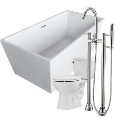Fjord 66.8 in. Acrylic Flatbottom Non-Whirlpool Bathtub in White with Sol Faucet and Cavalier 1.28 GPF Toilet