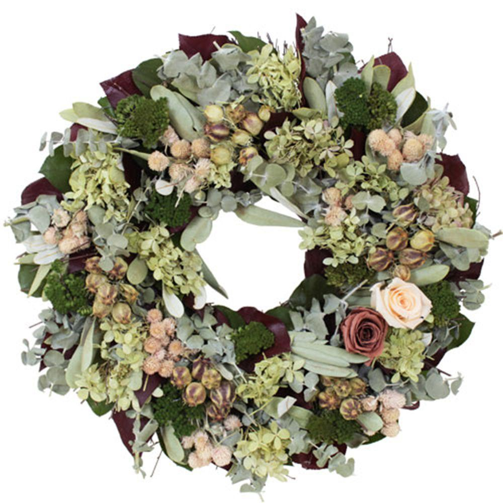 The Christmas Tree Company Coral Rose 16 in. Dried Floral Wreath