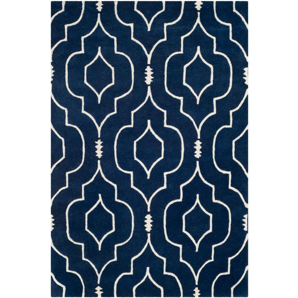 Safavieh Chatham Dark Blue Ivory 3 Ft X 5 Ft Area Rug