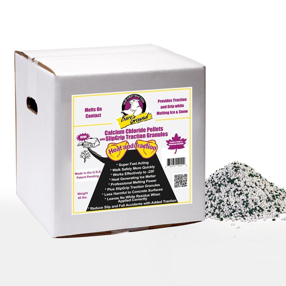 Bare Ground 40 lb. Box of Calcium Chloride Pellets with Traction Granules