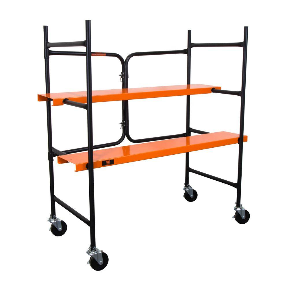 WEN 4-1/4 ft. x 4 ft. x 1-3/4 ft. Collapsible Rolling Scaffold 500 lbs. Load Capacity
