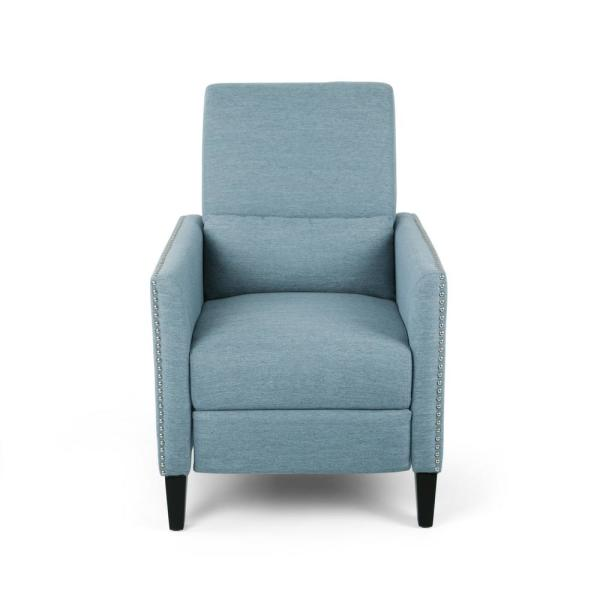 Alscot Light Blue and Dark Brown Upholstered Push Back Recliner