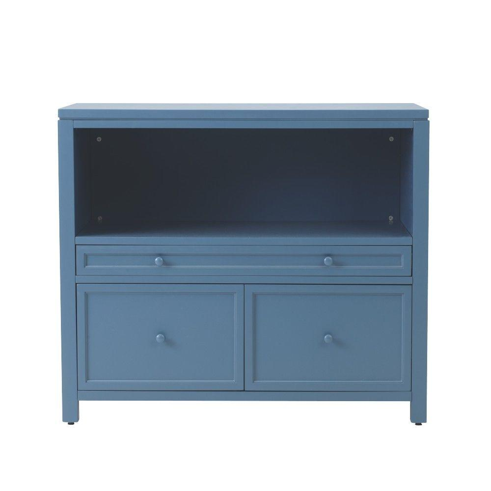 Martha Stewart Living Craft Space 42 in. W x 36.5 in. H 2-Door Wood Combination File and Open Storage Base in Mariner