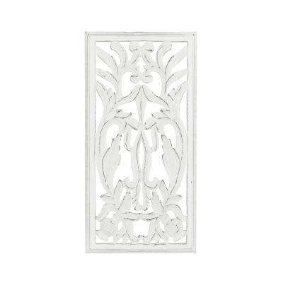 Shena White Hand Carved Panel Wooden Medallion