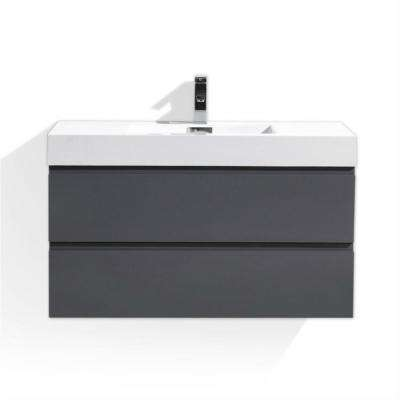 Wu 40 in. W Vanity in High Gloss Grey with Reinforced Acrylic Vanity Top in White with White Basin