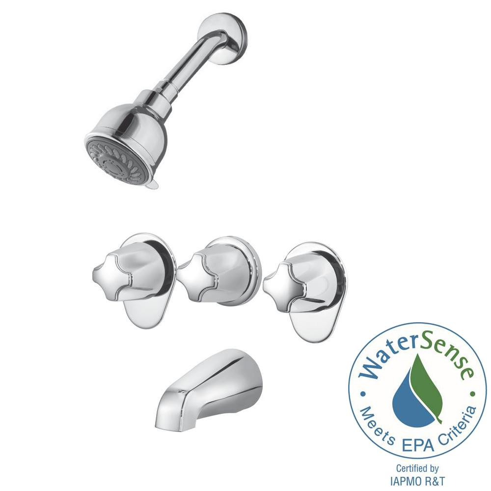 price pfister 3 handle tub shower faucet. Pfister 3 Handle Spray Tub and Shower Faucet in Polished Chrome  Valve