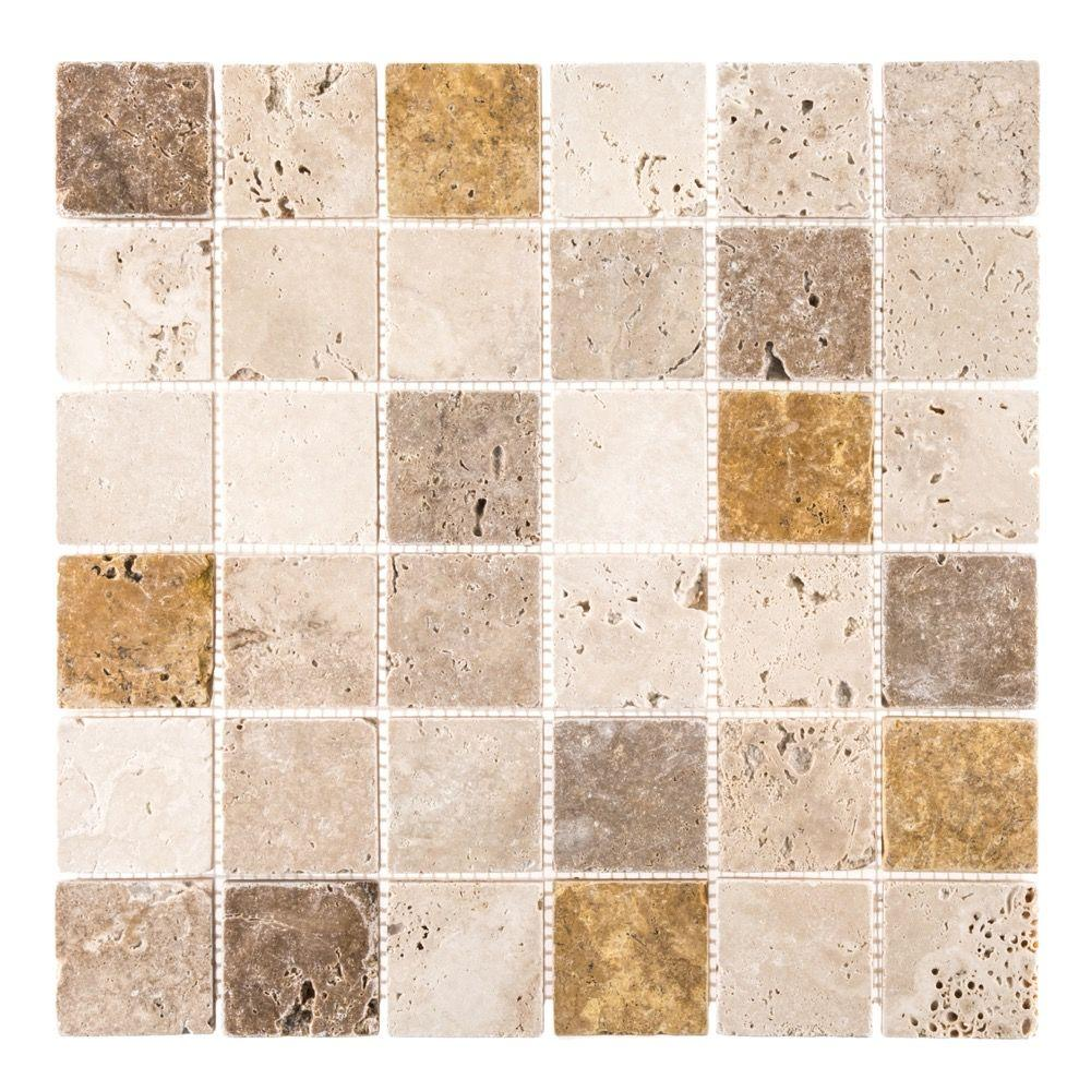 Jeffrey Court Medley 12 in. x 12 in. x 8 mm Travertine Mosaic Tile ...